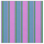 [ Thumbnail: Blue, Orchid, and Green Pattern of Stripes Fabric ]