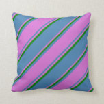 [ Thumbnail: Blue, Orchid, and Green Pattern of Stripes Pillow ]