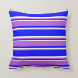 [ Thumbnail: Blue, Orchid, and Mint Cream Colored Pattern Throw Pillow ]