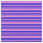 [ Thumbnail: Blue & Orchid Colored Lines Pattern Fabric ]