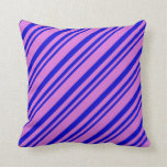 [ Thumbnail: Blue & Orchid Colored Lines Pattern Throw Pillow ]