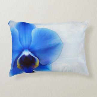 blue orchid exotic flower floral design vintage accent pillow