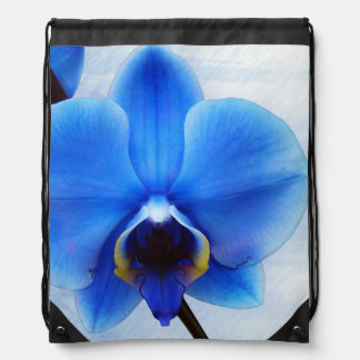 blue orchid exotic flower floral design vintage drawstring bag