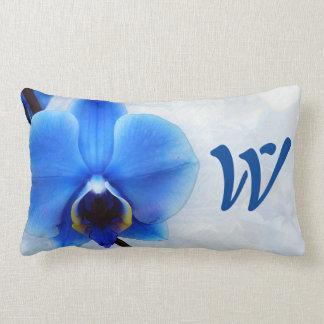 blue orchid exotic flower floral design vintage pillow