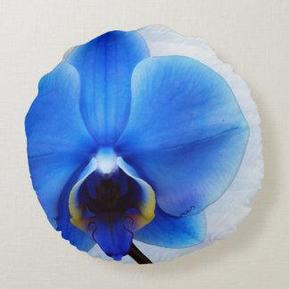 blue orchid exotic flower floral design vintage round pillow