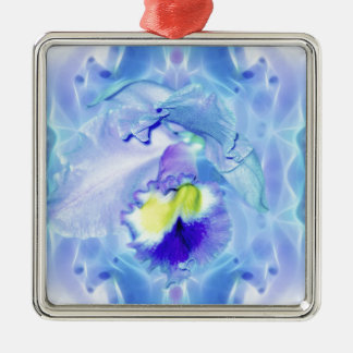 Blue Orchid Flower Square Metal Christmas Ornament