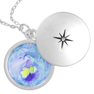 Blue Orchid Flower Silver Plated Necklace