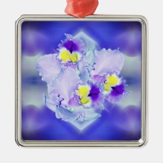 Blue Orchid flowers Square Metal Christmas Ornament