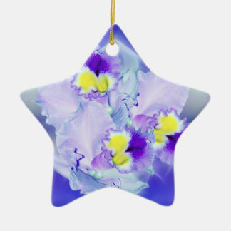 Blue Orchid flowers Double-Sided Star Ceramic Christmas Ornament