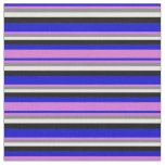 [ Thumbnail: Blue, Orchid, Gray, White & Black Striped Pattern Fabric ]