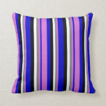 [ Thumbnail: Blue, Orchid, Gray, White & Black Striped Pattern Throw Pillow ]