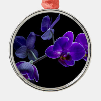Blue orchid metal ornament