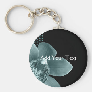 Blue Orchid on Black Keychain