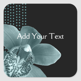 Blue Orchid on Black Square Sticker