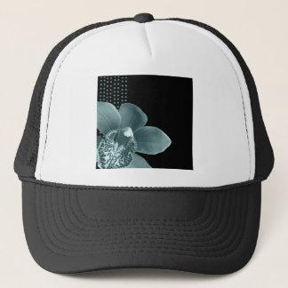 Blue Orchid on Black Trucker Hat