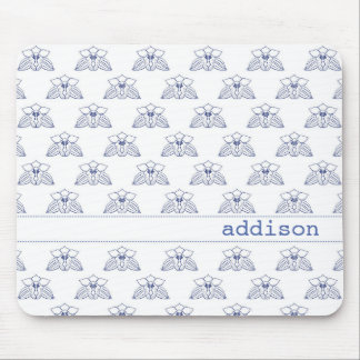 Blue Orchid Pattern Mouse Pad