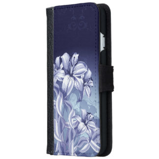Blue Orchid Wallet Phone Case For iPhone 6/6s