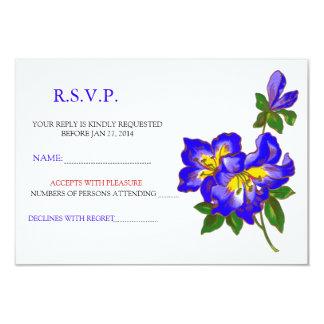 Blue Orchid Wedding Flower RSVP Announcement 2