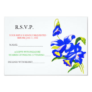 Blue Orchid Wedding Flower RSVP Announcement
