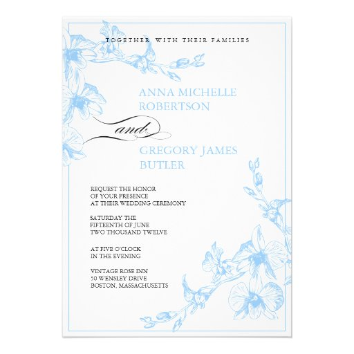 168 blue orchid wedding invitations blue orchid wedding