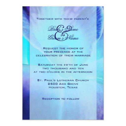 blue orchid wedding invitation zazzle