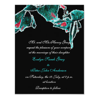 Blue orchids on black exotic wedding custom announcements