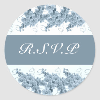 Blue orchids rsvp stickers - customizable template