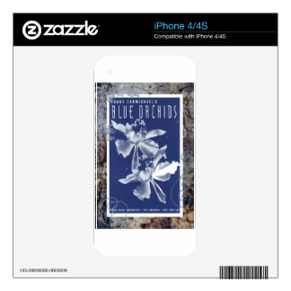 Blue Orchids Vintage Sheet Music Decals For iPhone 4