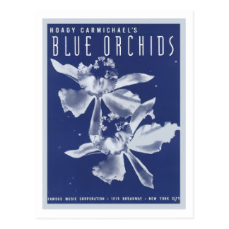 Blue Orchids Vintage Songbook Cover Postcard