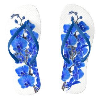 Blue orchis flip flops