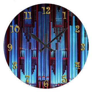 Blue organ pipes large clock