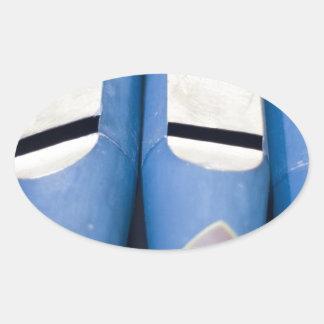 Blue Organ Pipes Oval Sticker