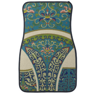 Blue Oriental Designs with Smiling Faces Floor Mat