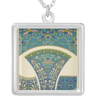 Blue Oriental Designs with Smiling Faces Silver Plated Necklace