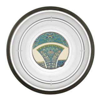 Blue Oriental Designs with Smiling Faces Pet Bowl