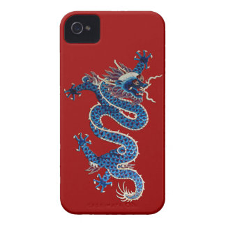 Blue oriental dragon antique Chinese embroidery iPhone 4 Cover