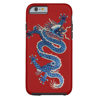 Blue oriental dragon antique Chinese embroidery Tough iPhone 6 Case