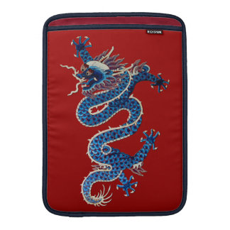 Blue oriental dragons antique Chinese embroidery MacBook Sleeve