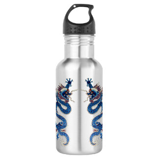 Blue oriental dragons antique Chinese embroidery 18oz Water Bottle