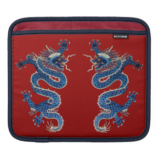 Blue oriental dragons antique Chinese embroidery Sleeve For iPads