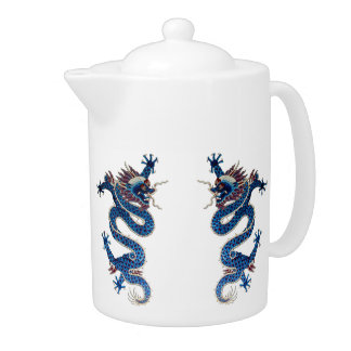Blue oriental dragons antique Chinese embroidery Teapot