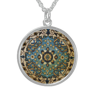 Blue Oriental Rug Sterling Silver Necklace