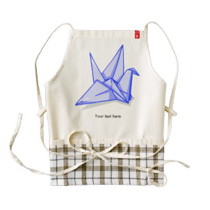 Blue origami crane zazzle HEART apron