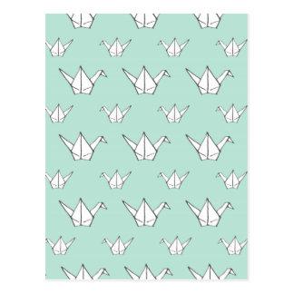 Blue Origami Cranes Postcard