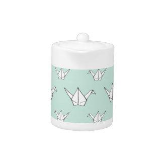 Blue Origami Cranes Teapot