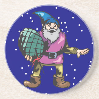 Blue Ornament and Santas Elf Drink Coaster