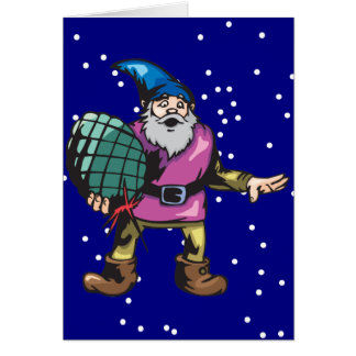 Blue Ornament and Santas Elf Stationery Note Card