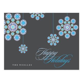 Blue Ornaments Christmas Flowers Holiday Postcard