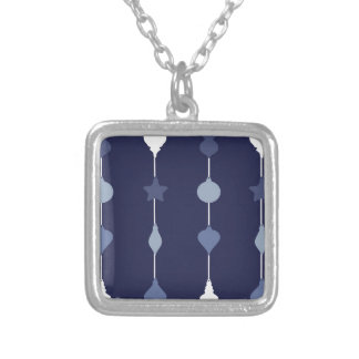 Blue Ornaments Silver Plated Necklace