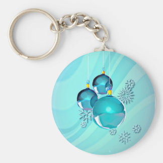 BLUE ORNAMENTS & SNOWFLAKES by SHARON SHARPE Basic Round Button Keychain